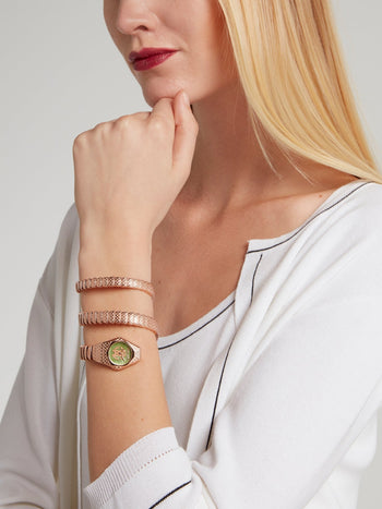 Rose Gold with Green Dial Snake Spiral Bracelet Watch