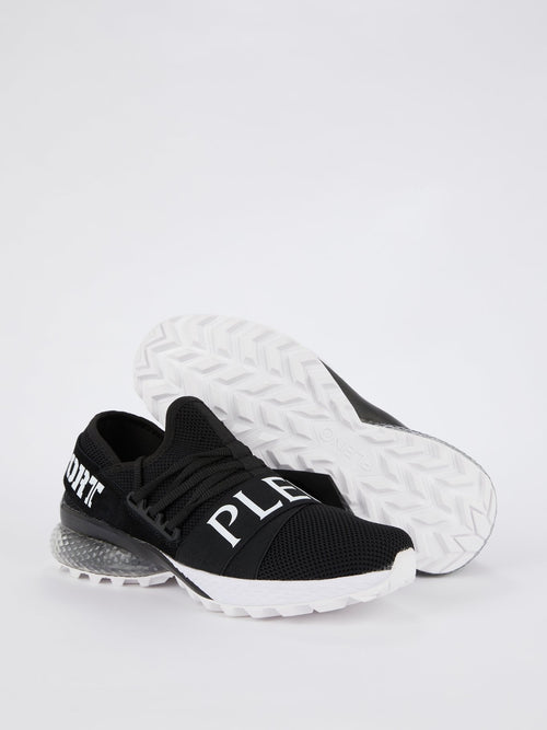 Black Logo Strap Mesh Runner Sneakers