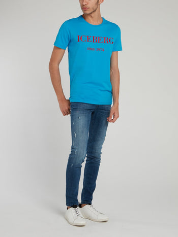 Blue Logo Embroidered Cotton T-Shirt