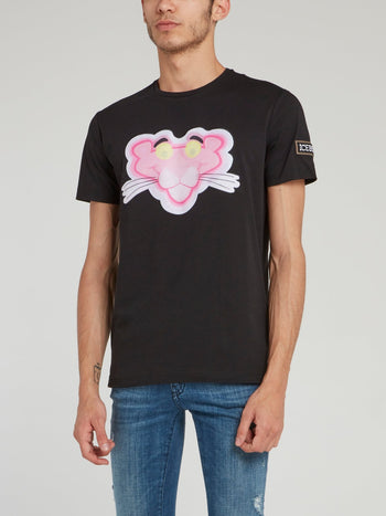 Pink Panther Black Crewneck T-Shirt
