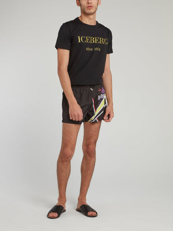 Black Statement Logo Drawstring Shorts