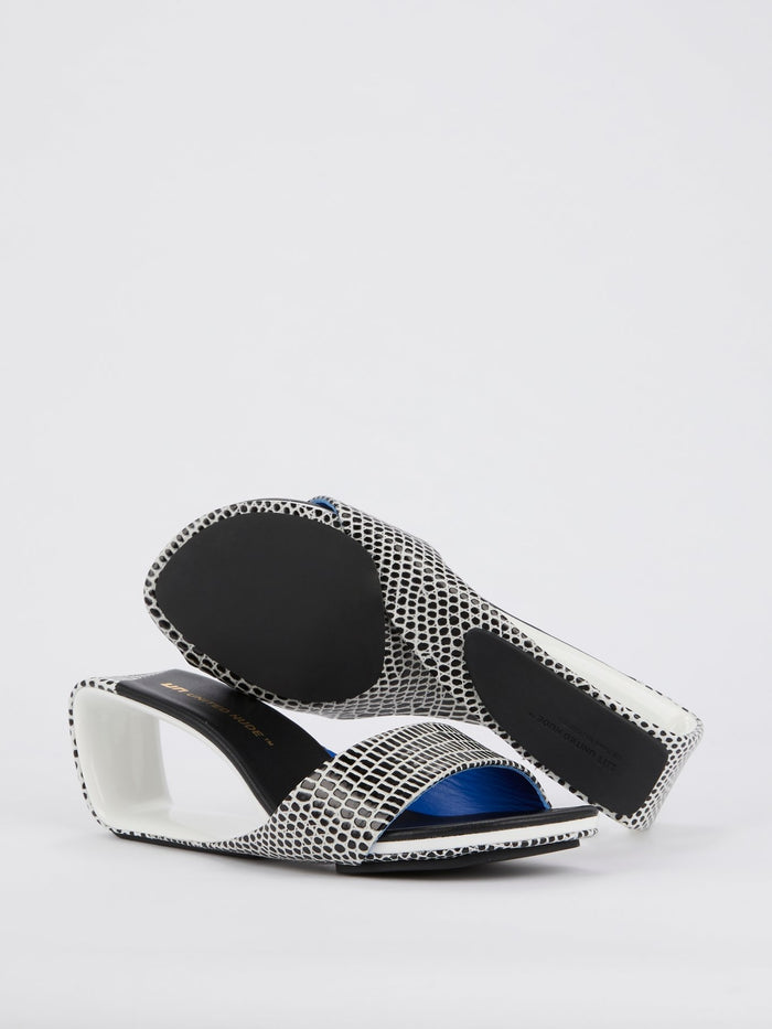 Mobius Mid Lizard Embossed Leather Sandals