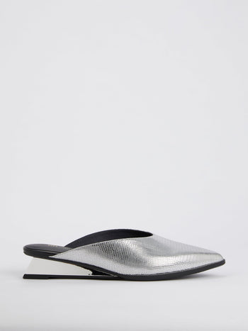 Metallic Lo-Lizard Embossed Leather Mules