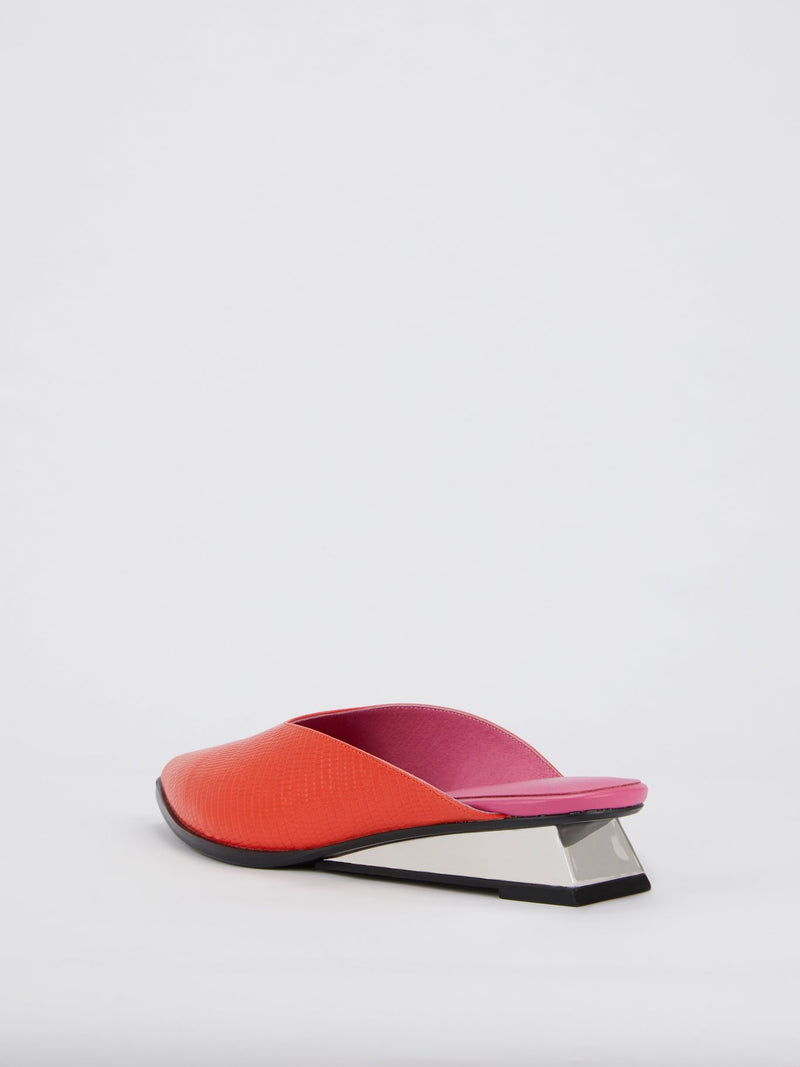 Two-Tone Lo-Lizard Embossed Leather Mules