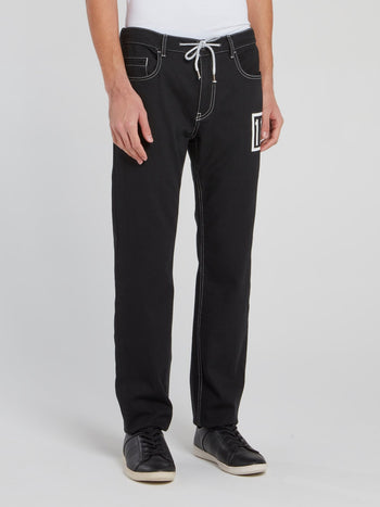 Black Drawstring Denim Trousers