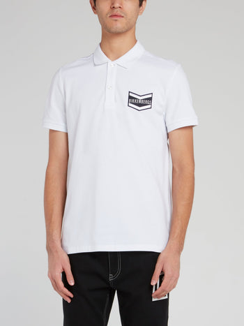 White Logo Embroidered Cotton Polo Shirt