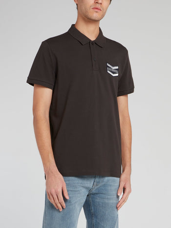 Black Logo Embroidered Cotton Polo Shirt