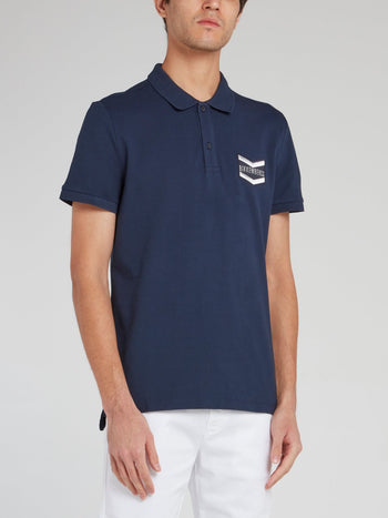 Navy Logo Embroidered polo Shirt