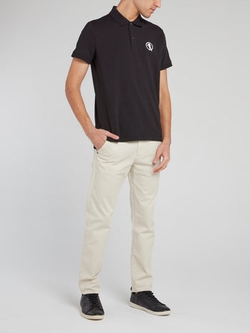 Black Logo Cotton Polo Shirt