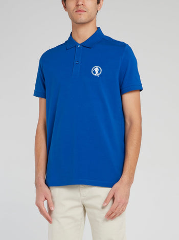 Blue Logo Cotton Polo Shirt