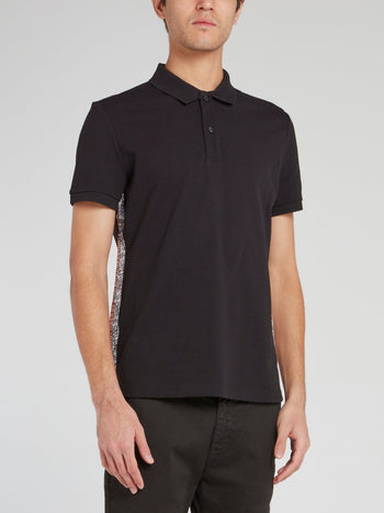 Black Side Stripe Logo Polo Shirt