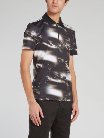 Printed Zip Up Polo Shirt