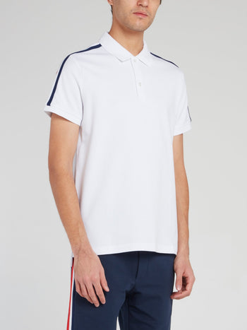 White Shoulder Stripe Polo Shirt
