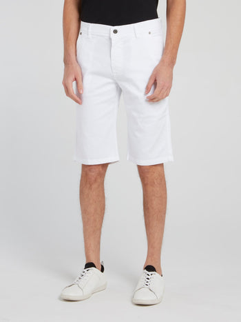 White Straight Cut Shorts
