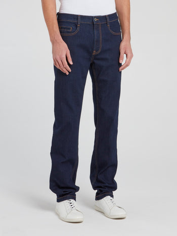 Navy Straight Cut Denim Trousers