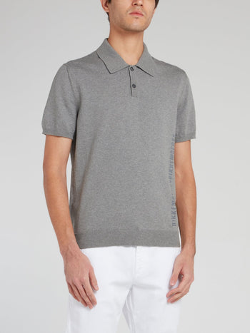 Grey Ribbed Edge Polo Shirt