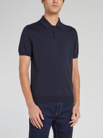 Navy Ribbed Edge Polo Shirt