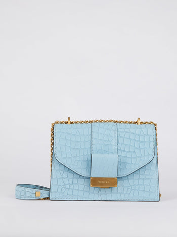 Carrie Blue Crocodile Embossed Leather Shoulder Bag