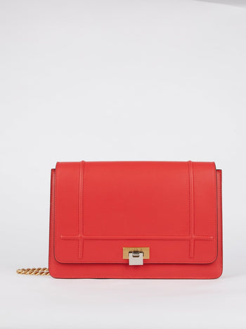 Lizzy Red Brass Strap Leather Shoulder Bag