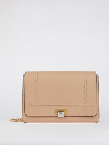 Lizzy Beige Brass Strap Leather Shoulder Bag