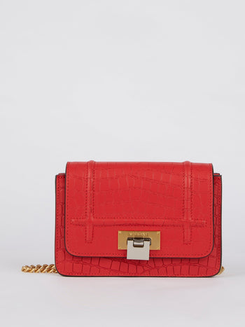 Lizzy Red Crocodile Effect Leather Shoulder Bag
