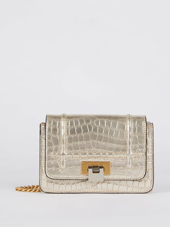 Lizzy Metallic Crocodile Effect Leather Shoulder Bag