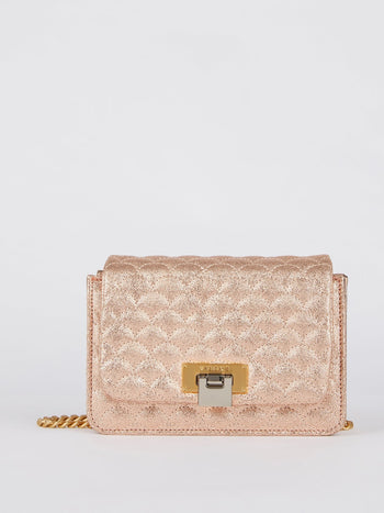 Lizzy Glitter Copper Quilted Leather Shoulder Bag