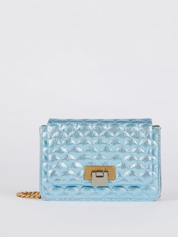 Lizzy Glitter Blue Quilted Leather Shoulder Bag