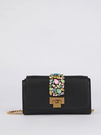 Patty Black Gem Embellished Crossbody Bag