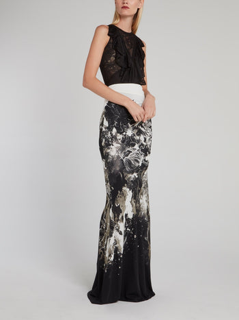 Black Lace Panel Cascade Top