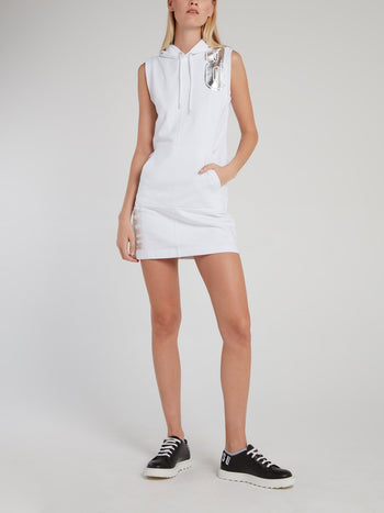 White Sleeveless Hoodie Dress