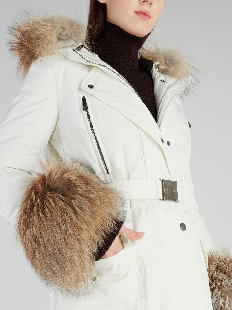 White Fox Fur Down Jacket