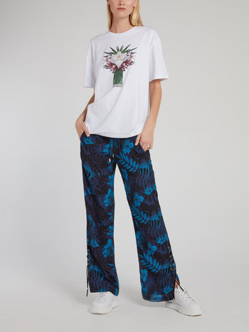 Navy Floral Print Wide Leg Pants