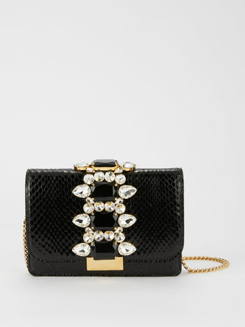 Cliky Snake Black Clutch Bag