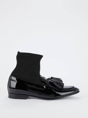 Black Sock Insert Patent Leather Tassel Loafers
