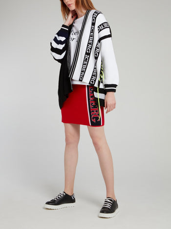 Black and White Logo Striped Cardigan