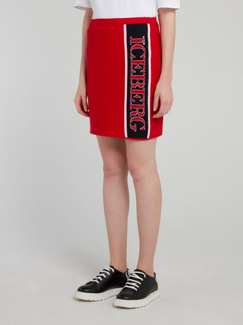 Red Logo Stripe Mini Skirt