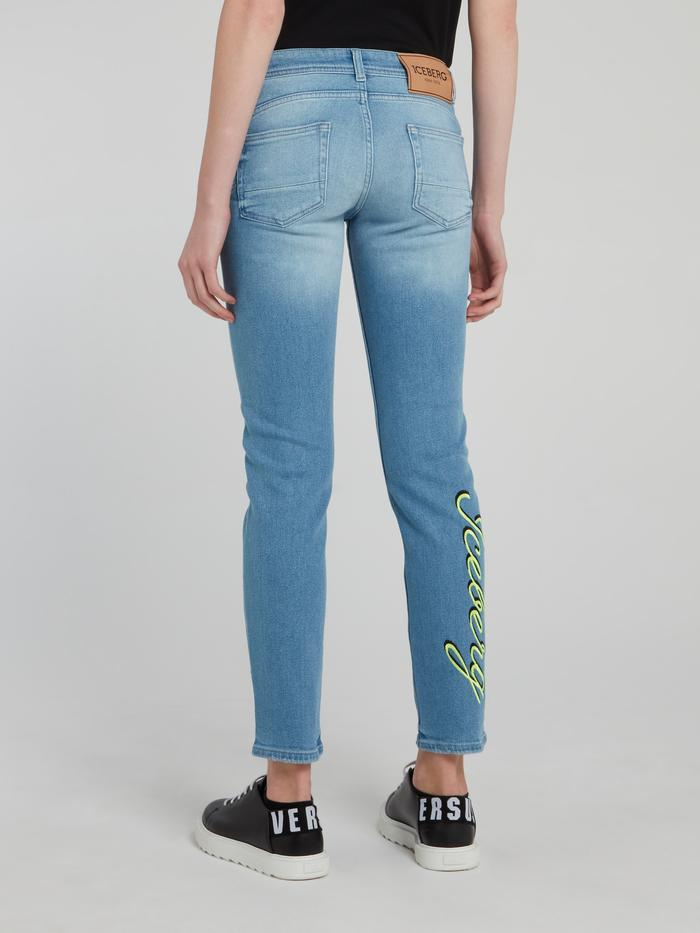 Blue Rear Logo Print Denim Jeans