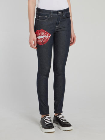 Dark Wash Sequin Lips Skinny Jeans