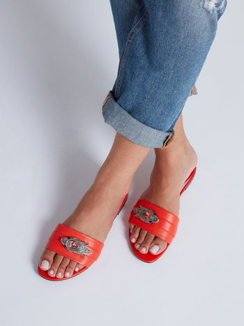 Orange Embellished Leather Sandals