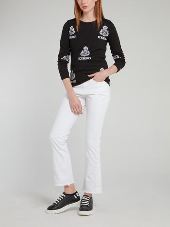 White Frayed Flared Jeans