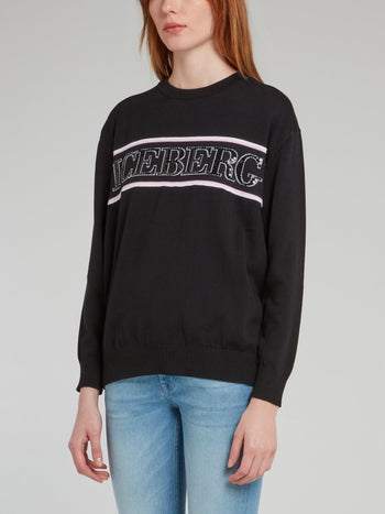 Black Crewneck Knitted Sweatshirt