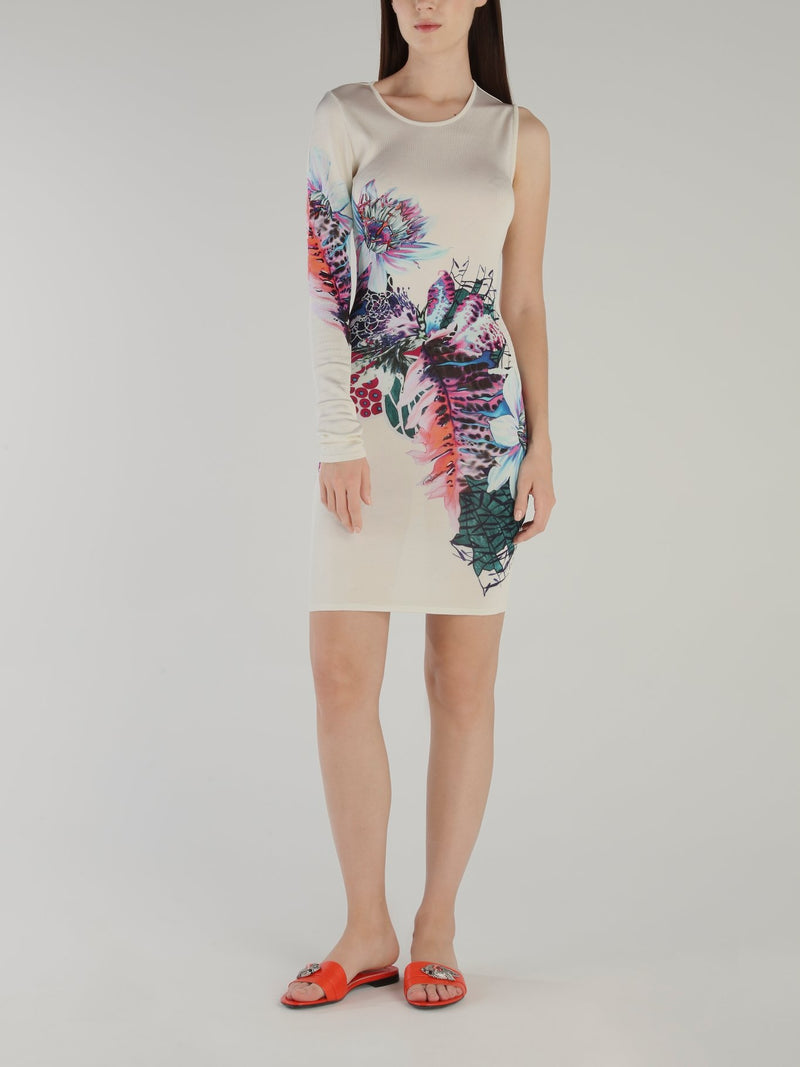 Floral Print Asymmetric Knit Dress