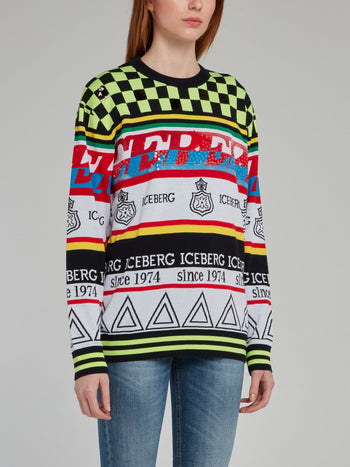 Check Panel Knitted Sweatshirt
