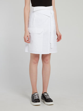 White Front Pocket Detail Mini Skirt