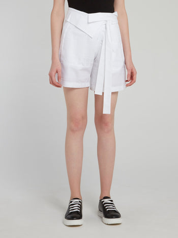 White Tie Front Detail Shorts