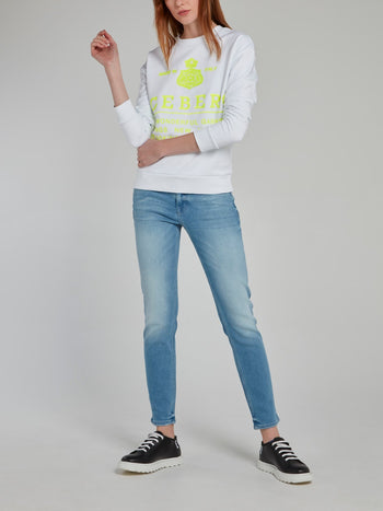 White with Neon Logo Embroidered Sweatshirt