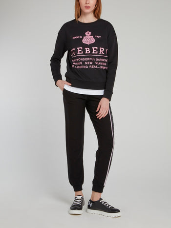 Black with Pink Logo Embroidered Sweatshirt