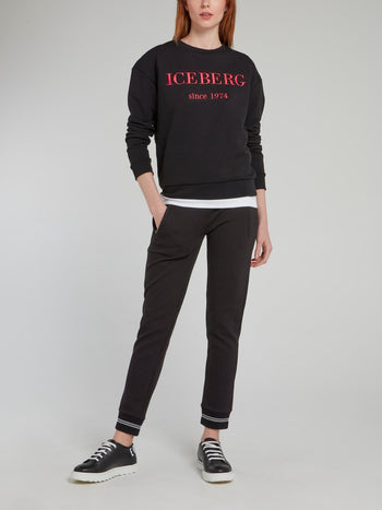 Black Logo Embroidered Cotton Sweatshirt
