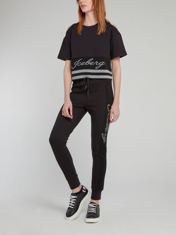 Black Cold Shoulder Logo Top